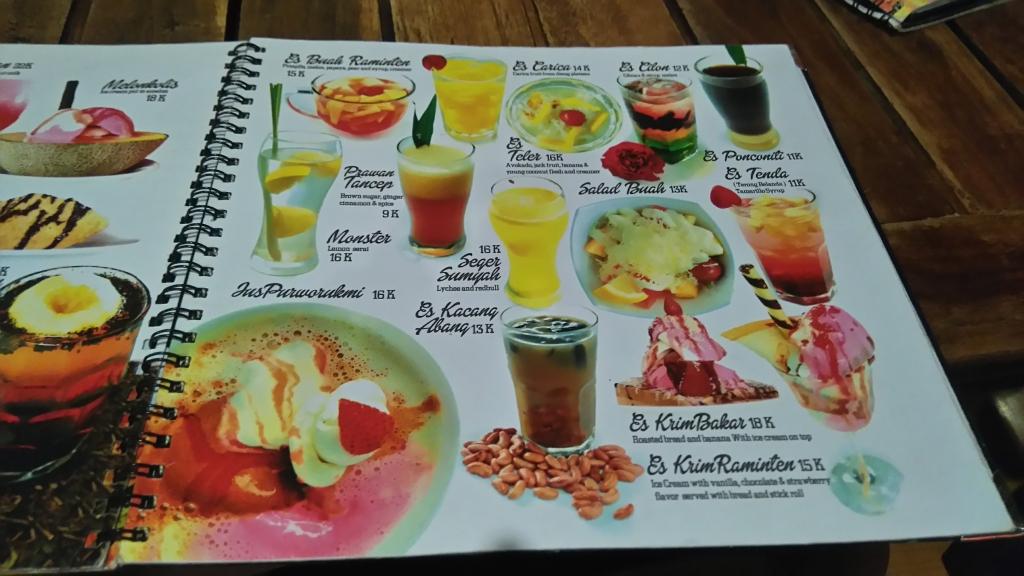 menu minuman di raminten jogja