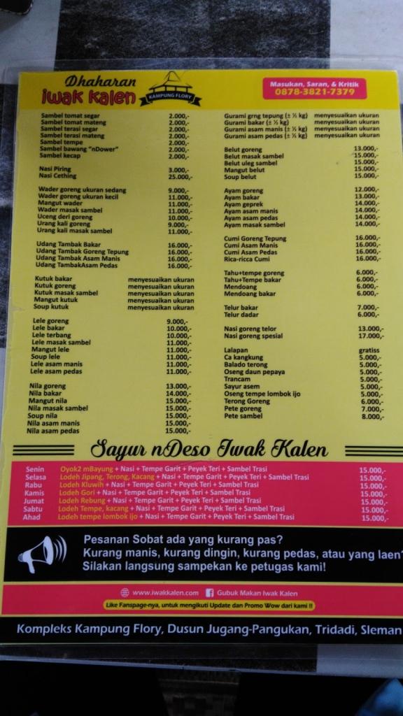 daftar menu kampung flory