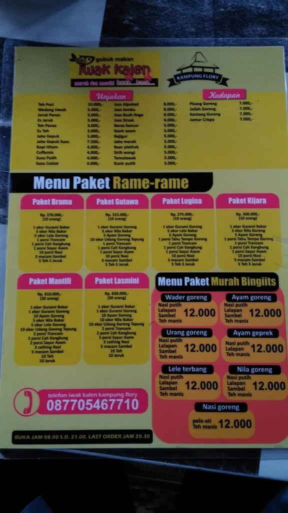 menu dan harga kampung flory